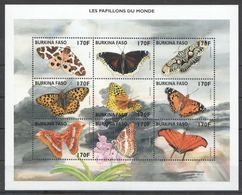 N114 BURKINA FASO BUTTERFLIES LES PAPILLONS DU MONDE 1KB MNH - Schmetterlinge