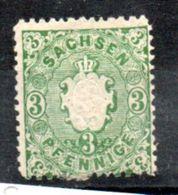 Saxe  / N 13 / 3 P Vert / NEUF Avec Charnière - Saxony
