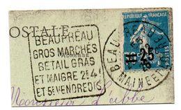 FAUNE / BOVIN  = 49 BEAUPREAU 1926 = FLAMME DAGUIN ' GROS MARCHES BETAIL GRAS Et MAIGRE' - Marcophilie (Lettres)