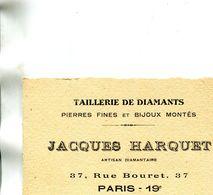 Carte De Visite Publicité De Jacques HARQUET 37 Rue Bouret PARIS XIX 19 Taillerie Diamants Pierres Fines Bijoux Montés - Visiting Cards