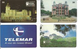 Lot De 4 Télécartes Du BRESIL - Telemar, Gare De Bello Horizonte, Parc National Et Chateau - Brésil