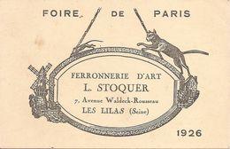 Vieux Papiers - Publicités : Foire De Paris  Ferronnerie D' Art L.STOQUER Les Lilas ( Seine ) 1926 Réf 4556 - Publicités