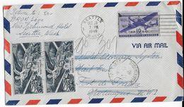 1946 - VOL SPECIAL D'ESSAI - ENVELOPPE De SEATTLE (USA) => FORT DE FRANCE (MARTINIQUE) Avec AFFR. MIXTE Pour RETOUR. - Airmail