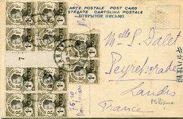 INDOCHINE CARTE POSTALE AVEC AFFRANCHISSEMENT N°72 DONT UN BLOC DE 8 AVEC MILLESIME 7 DEPART HANOI ?-?-(28) TONKIN - Indochina (1889-1945)