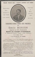 Souvenir Mortuaire EMILE MONJON (1895 - 1915) CAPORAL DU 156 D'INFANTERIE  Mort Au Champ D'honneur à NEUVILLE ST VAAST - Décès
