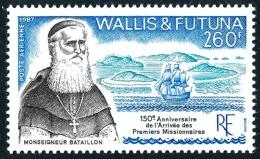 WALLIS ET FUTUNA 1987 - Yv. PA 158 **   Faciale= 2,18 EUR - Mgr Bataillon, Missionnaire, Et Voilier  ..Réf.W&F22162 - Luftpost