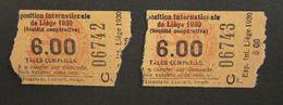2X Ticket D'entrée Exposition Internationale De Liège 1930 - N° 6742 & 6743 - Belgique - Biglietti D'ingresso