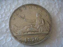 España 1870 SN M - 5 Pesetas PLATA - Patina En Reverso - Provincial Currencies