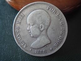 1888 (18-88) MP.M - 5 Pesetas PLATA - Alfonso XIII - Moneda De España - Provincial Currencies