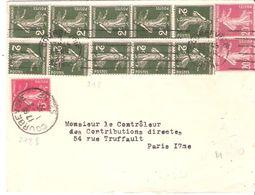 2c.semeuse Camée Vert Bande De 5 + Bande De 4 +1+divers Sur Lettre De COURBEVOIE - 1921-1960: Période Moderne