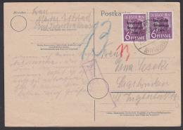 SBZ 25.10.48 6 Pf(2) Mit Nachgebühr Auf Auslandsporto 30 Pf., Karte Nach Saarbrücken Aus Bad Frankenhausen Kyffhäuser - Zone Soviétique