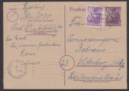 Berlin-Charlottenburg 6 Pf Bären-Ganzsache Mit Zusatzfrankatur 13.4.46 Nach Oldenburg , Mit MWSt.  Ohne Jahr - Soviet Zone