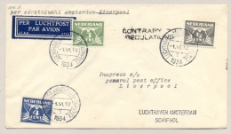 Nederland - 1934 - First Flight AMSTERDAM Naar LIVERPOOL - Contrary To Regulations - VH-A 115c - Periode 1891-1948 (Wilhelmina)