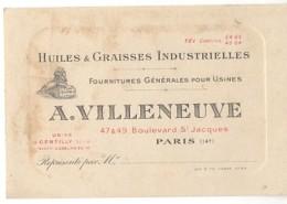 Carton PUB - PARIS / 14ème - HUILES & GRAISSES INDUSTRIELLES - A.VILLENEUVE - 47&49 Boulevard St Jacques - Visiting Cards