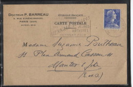 Carton PUB - PARIS XVI è AR. - Dr P.BARREAU - Rue Eugène Manuel 16è  - Carte Professionnelle - Visiting Cards