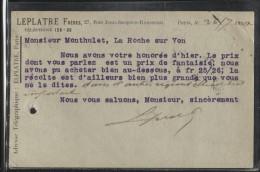 Carton PUB - PARIS - Ets LEPLATRE Frères - Rue J.J.Rousseau  - Carte Professionnelle - Visiting Cards