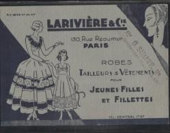 Carton PUB - PARIS - Ets LARIVIERE & Cie - 130 Rue REAUMUR - Textiles Vêtements - Carte Professionnelle - Visiting Cards