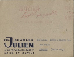Carton PUB - PARIS  XI è AR. - Ets JULIEN Charles - 58 Rue Fontaine Au Roi - Carte Professionnelle - Visiting Cards