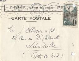 Carton PUB - PARIS - Ets BALLAUF - 21 Place Des Vosges - Carte Professionnelle - Visiting Cards
