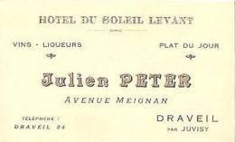 Carton PUB - DAVREIL - Ets PETER Julien - HOTEL Du SOLEIL LEVANT - Avenue Meignan - Carte De Visite - Visiting Cards