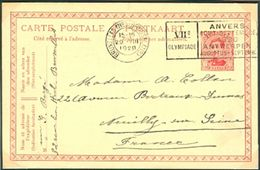 BELGIUM Postcard With Olympic Machine Cancel Bruxelles Nd Brussel Nd Dated 29-VIII 1920 Diving Day - Summer 1920: Antwerp