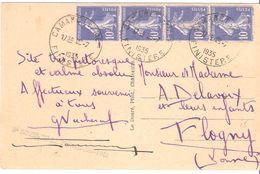 10c.semeuse Camée Bleu Bande De 4 Sur Carte Oblitéré CAMARET S/ MER - Postmark Collection (Covers)