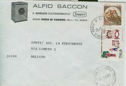 SACCON  ALFIO - BUSTA COMMERCIALE VIAGGIATA 1983 - LOGO - VODO DI CADORE, BORCA DI CADORE (BELLUNO) - Pubblicitari