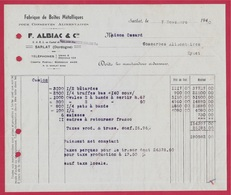 1950 FACTURE Fabrique F. ALBIAC & Cie - Boites Métalliques Pour CONSERVES ALIMENTAIRES Dordogne 24 SARLAT - Alimentare