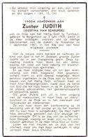 Devotie Overlijden Doodsprentje - Non Zuster Judith - Joz. Van Echelpoel - Borgerhout 1905 - Vosselaar 1967 - Avvisi Di Necrologio