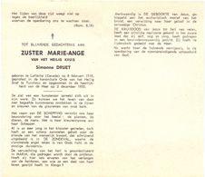 Devotie Overlijden Doodsprentje - Non Zuster Marie Ange - Simonne Druet - Laflèche Canada 1915 - Turnhout 1970 - Avvisi Di Necrologio