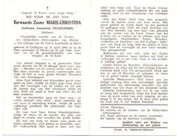 Devotie Overlijden Doodsprentje - Non Zuster Marie Christina - A. Dejaeghere - Gullegem 1896 - Marke 1966 - Avvisi Di Necrologio