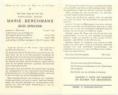 Devotie Overlijden Doodsprentje - Non Zuster Marie Berchmans - Elza Denecker - Moorslede 1912 - Marke 1962 - Avvisi Di Necrologio