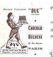 """Traite 1953 / PARIS / Chocolat DUCHENE / Marque Française DUC / """"je Ne Sers Que Du Bon"""" - Francia"""