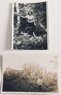2 Photos. Forêt De Marly. Mademoiselle Prenant La Pose. Photos Légendées. 1936. - Places