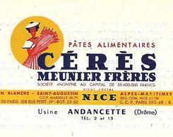 Lettre 1956 / NICE / Usine ANDANCETTE Drôme / CERES MEUNIER Frères / Pâtes Alimentaires - Francia