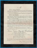 """1898 FAIRE-PART Décès 75008 Paris Bd Haussmann Gustave Hippolyte ROULAND Sénateur De """"la Seine-Inférieure"""" (76) - Décès"""