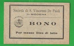 Modena San Vincenzo BUONI CARITATEVOLI Mezzo Litro Latte Charitable Good Bienfaisance Wohltätiges Gut - Italie