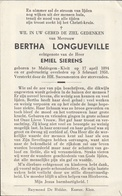 Longueville Bertha - Sierens Emiel ° Maldegem 1894 + Aldaar 1958    Lot 205 - Images Religieuses
