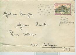 VILLE REALE £.400 - ISOLATO SU PARTECIPAZIONE,TIMBRO POSTE VENEZIA-CASTEGGIO (PAVIA) - 6. 1946-.. Repubblica