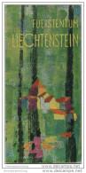 Fürstentum Liechtenstein 70er Jahre - Faltblatt Mit 10 Abbildungen - Vogelschaukarte Signiert E. Verling - Reiseführer