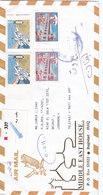 Iraq Registr.com.cover 2002,2 Stamps ERRORS :Bombing USA Shifted Perfo.Brdge Saddam Missin Black Inscrpt-note Michel- - Iraq