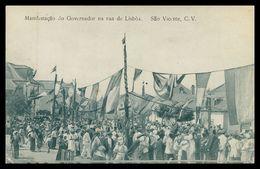 SÃO VICENTE - Manifestação Do Governador Na Rua De Lisboa. ( Ed. Hotel Brazileiro) Carte Postale - Cape Verde