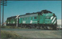 Burlington Northern F-Unit F7 No 682 Covered Wagon - Railcards Postcard - Trains