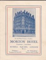 ROYAUME-UNI----LONDRES--MORTON HOTEL--TARIF--le Seul Hôtel Français à Londres---voir 2 Scans - Royaume-Uni