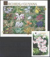 N432 GUYANA FLORA FLOWERS ORCHIDS OF GUYANA GOLD EXPO 90 1BL+1SH MNH - Orchideeën