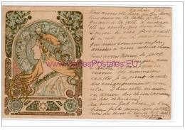 "MUCHA Alfons : Carte Postale Ancienne """"""""Zodiac""""""""- Bon état (écrite) - Mucha, Alphonse"