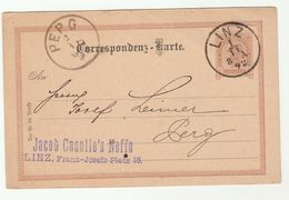 1892 LINZ To PERG Austria POSTAL STATIONERY CARD Cover Stamps - Covers & Documents