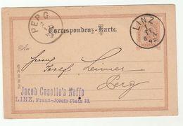 1892 LINZ To PERG Austria POSTAL STATIONERY CARD Cover Stamps - 1850-1918 Empire