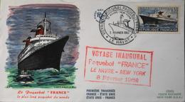 """FDC - 1er Jour 1962 - Paquebot """" FRANCE """" - Daté Le Havre Le 3 Févr. 62 - En TBE - FDC"""