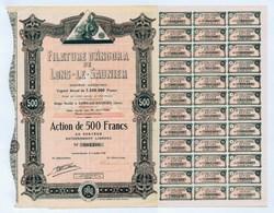 """FILATURE D""""ANGORA DE LONS-LE-SAUNIER (Jura). Action De 500 Francs, 1928. Complète De Ses 36 Coupons. - Textile"""